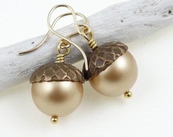 Gold Acorn Earrings Dangle Acorn Jewelry Woodland Earrings Gold Filled Gold-Filled Pearl Earring Autumn Jewelry Fall Earrings Back To School