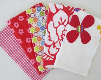 Vintage Sheet Fabric, Reclaimed Bed Linen Fabrics, Fat Quarter Bundle, Bright and Sunny (5 Pack)