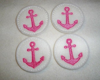 Ready to Ship Feltie Machine Embroidered Hand made (4) Felt Anchor CUT Embellishments / appliques