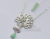 Tree of life necklace Aventurine necklace Double strand family tree necklace Green aventurine stone point pendant healing stone boho jewelry