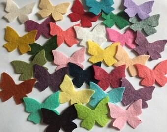 Wool Felt  Butterflies 30 - Random Colored. 3015