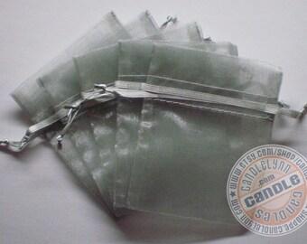 30 LIGHT SILVER 5x8 Sheer Organza Bags