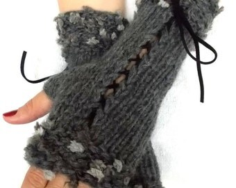 Handknit Fingerless Corset Gloves Grey Wrist Warmers with Black Suede Ribbons