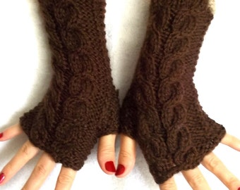 Fingerless Gloves, Cabled, Warm, Wrist Warmers, Dark Brown, Beige Fingerless, Mittens