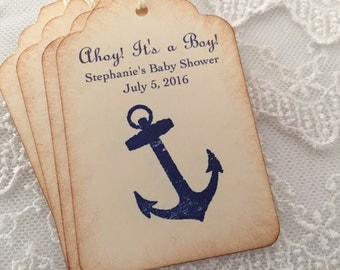 Nautical Anchor Tags Baby Shower Thank You Favor Tags Ahoy! It's a Boy!