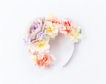 romantic oversized flower crown headband // Wren / spring wedding floral headpiece hair accessory, nature woodland garden