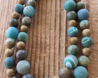 Blue Green and Gold Druzy Agate and Jasper Beaded Necklace
