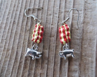 Hand Painted Clay Bacon and Silver Pig Charm Earrings