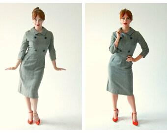 50s Hourglass Black and White Striped Secretary Dress- 27, Small, Bombshell, Hairspray, Mad Men