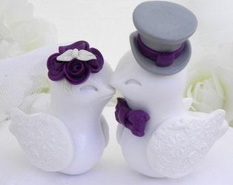 Love Birds Wedding Cake Topper, White, Plum Purple and Grey, Bride and Groom Keepsake, Fully Customizable