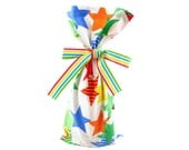 Fabric Wine Bottle or Small Gift Bag with Bright Stars for Birthday, Graduation, Father's Day, or other Celebration