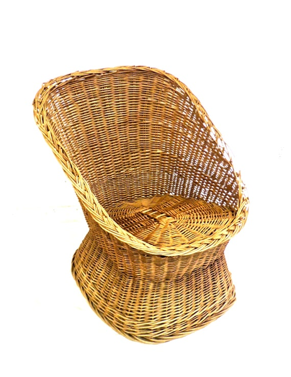 Vintage Wicker Egg Chair 1950s 60s Mid Century Wicker Chair