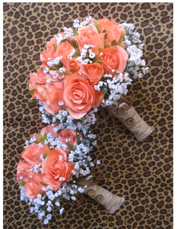 New Custom Artificial Rustic Coral Reef Bridal Bouquet Silk Wedding Flowers