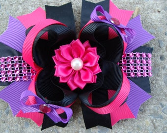 Boutique Hair Bow shocking pink black and purple hair bow large hair bow Stacked Boutique Hair Bow navy hair bow school uniform hair bow