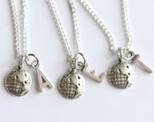 3 Friends Necklace, Friendship Gift, Personalized Initial Necklace, Long Distance Friendship, No Matter Where,  Set of 3 BFF
