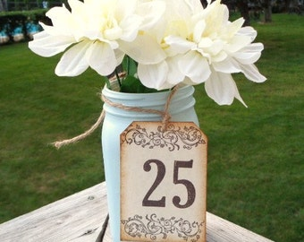 Table Number Tags Rustic Wedding Mason Jar Tag Vintage Style Birthday Party
