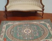 Dollhouse green gold cream floral rug 1:12 scale