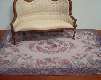 Dollhouse Rooster Animal Print Border Rug 1:12 scale