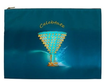 Celebrate zipper pouch, XL Travel Bag, Blue and gold makeup pouch, Celebrate Cosmetic Makeup pouch, cosmetic bag, Celebrate makeup bag