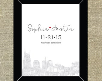 Nashville Tennessee skyline 5x7 or 8x10 inch wall art; Happily Ever After gift for newlyweds, housewarming gifts, city skyline