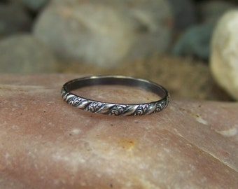 Simple Stacking - 2mm Swirl and Twist Patterned Sterling Silver Stacking Band - Sizes 4-10 US