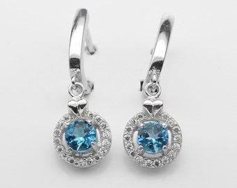 Handmade Natural Gemstone Jewelry, Genuine Sky Blue Topaz Sterling Silver Earring  FD5A0058-ER-SBT004