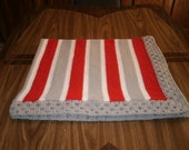 Knit Ohio State Fan Baby Blanket / Afghan / Lapghan With Crochet Trim