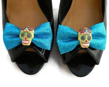 Blue Sugar Skull Shoe Clips, Glitter Aqua Bow and Yellow Skull, Rockabilly Shoe Clips, Pin Up Shoe Clips, Day of the Dead, Retro Shoe Clips