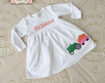 Thanksgiving Dress, Fall Knit Dress, Tractor Dress, Appliqued Dress, Embroidered Dress, Monogrammed Dress, Toddler Dress