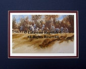 Civil War Print of Cavalry Limber Up Matted Watercolor Lafayette Ragsdale