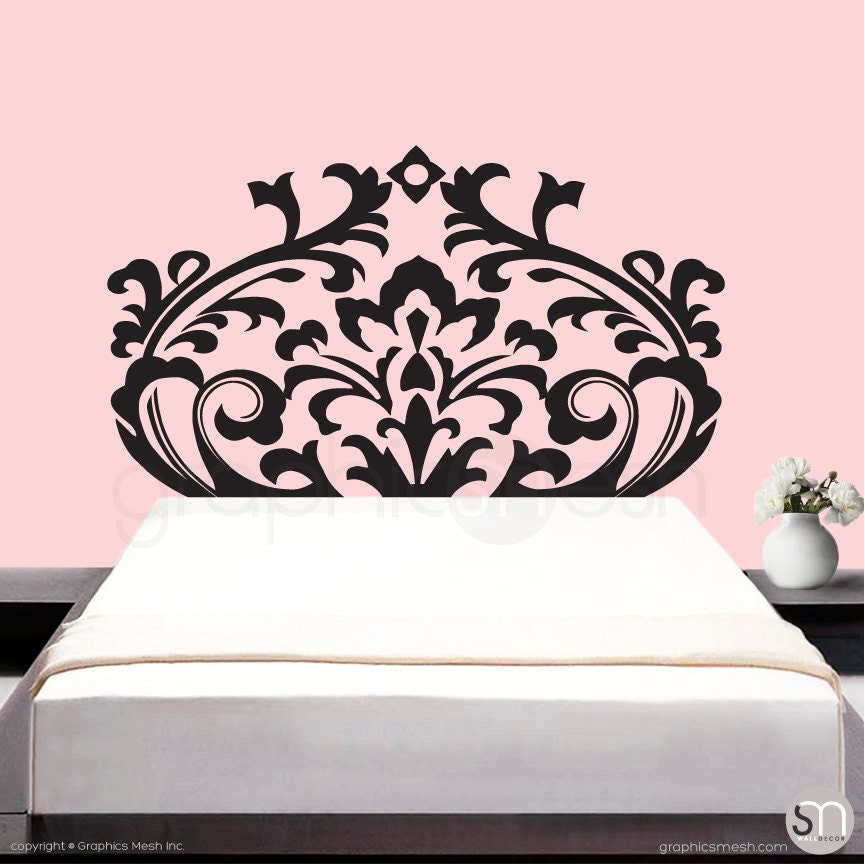 Bedroom Headboard Wall Decor : Wall decals damask headboard mondern bedroom interior decor by