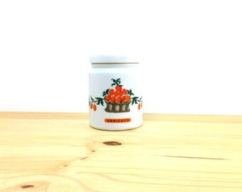 Vintage Ceramic Canister / Limoges Porcelain / Apricot Print / China Collectible / French Kitchen / Abricots Container / B.H. Cadeaux