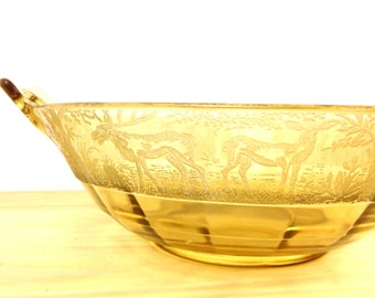 Vintage Paden City / Amber Yellow Elegant Glass / Black Forest Etch / Depression Glass / Regina Pattern / Bowl with Handles / Moose and Deer