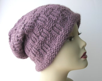 Exotic LLAMA WOOL Hand Knit Reversible Slouch Hat Dusty Plum Purple / Luxurious Hand Knit Slouch Hat / Thoughtful Gift idea