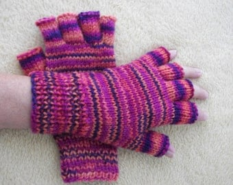 COMMOTION Half Finger Hand Knit 100% Soft WOOL GLOVES / Thoughtful Gift / Colorful knit gloves
