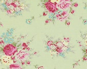 SALE 1/2 yard little bouquet in green from the Rosey collection by Tanya Whelan for Free Spirit