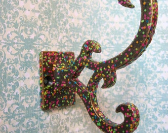 1 Whimsical Brass Wall Hook Scroll Design Colorful Polka Dots Double Hook H-17