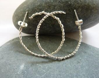 Twisted wire hoop earrings: Handmade sterling silver