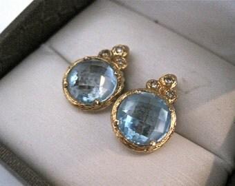 Topaz earrings, blue topaz and gold earrings, swiss blue topaz and gold earrings, 18 k gold earrings