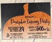 Pumpkin Carving Party Invitation, PRINTABLE Halloween Party Invitation, Fall Party Invitation Orange Glitter Pumpkin 5x7
