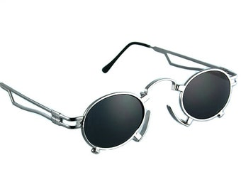 round oval sunglasses Steampunk sunglasses Goth sunglasses Vampire pince-nez stainless steel unusual unique sunglasses polarized lens NOS