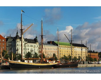 Fine Art Color Photography of Blue Sky and Clouds Over the Harbor in Helsinki Finland