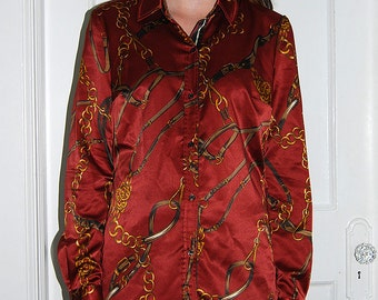 vintage burgundy blouse with chain pattern