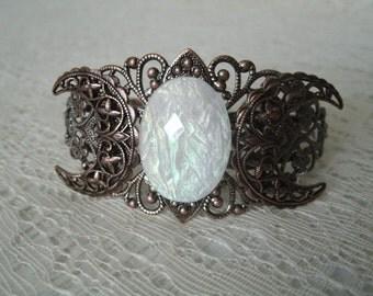 Copper Triple Moon Goddess Cuff Bracelet, wiccan jewelry pagan jewelry wicca jewelry goddess jewelry witch witchcraft magic pagan bracelet