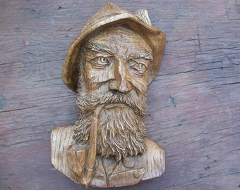 Vintage Looks Like Wood Fishermans Bust Face Wall Hanging Man with Pipe