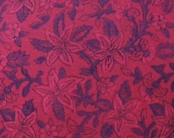 block printed cotton fabric - purple floral print on magenta - 1 yard ctjp150