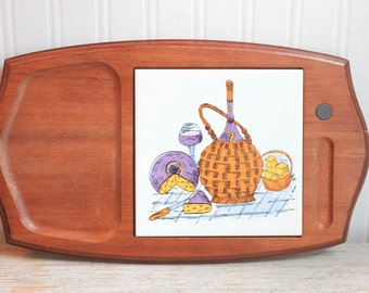 Vintage Wood Cheese Board with Decorative Porcelain Tile, Wine  Cheese Party, Purple  Orange Retro Entertaining, Cutting Board, Cheese Tray