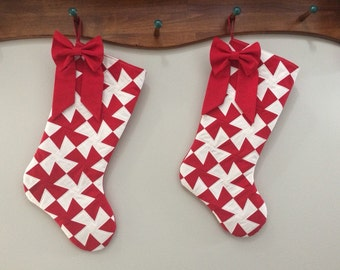 Quilted Christmas Stocking Set of Two.  Red Pinwheel with Bows