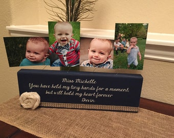 Personalized picture frame board teacher nanny aunt new baby shower great grandma gift wood custom choose your quote & colors!