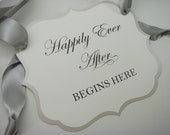 Wedding Ceremony Sign with wording Happily Ever After Begins Here to Hang as Decor for your Ceremony or Reception
